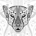 The black and white cheetah print with ethnic zentangle patterns. Coloring book for adults antistress. Art therapy Royalty Free Stock Photo
