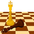 Black white chess king on board isolated illustration Royalty Free Stock Photography