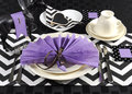 Black and white chevron with purple theme party luncheon table place setting for melbourne cup australian public holiday horse Royalty Free Stock Photo