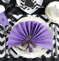 Black and white chevron with purple theme party place setting Royalty Free Stock Photo