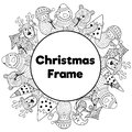 Black and white Christmas frame in coloring page style