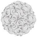 Black and white circle wave ornament, ornamental round lace desi