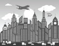 Black white city background vector illustration of Stock Photo