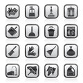 Black and white cleaning and hygiene icons Royalty Free Stock Photo