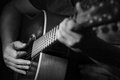 Black and white Close up of a guitarplayer Royalty Free Stock Photo