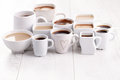 Black or white coffee lots of cups time Stock Photography