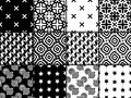 Black and white collection of seamless patterns. Geometric backgrounds