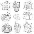 Black and white collection of sweet pastries. Cakes, cupcakes