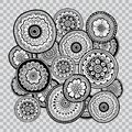 Black and white floral coloring on transparent background. Flower indian tattoo artwork. Royalty Free Stock Photo