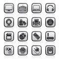 Black an white computer peripherals and accessories icons Royalty Free Stock Photo