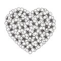 Black and white contour of flowers in form of heart the Royalty Free Stock Photos