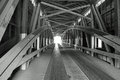 Black and White Covered Bridge Royalty Free Stock Photo