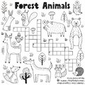 Black and white crossword for kids with forest animals. Woodland coloring page