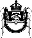 Black And White Crowned Scull Heraldry. Stock Photo