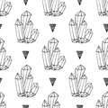 Black and white crystals minerals rocks hand drawn vector seamless pattern. Triangle hipster background with jewel Royalty Free Stock Photo