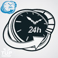 Black and white 3d vector 24 hours timer, around-the-clock pictogram. Time idea dimensional symbol. Twenty-four hours a day Royalty Free Stock Photo