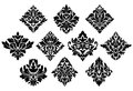 Black and white damask arabesque elements vector with large bold floral foliate designs Royalty Free Stock Photo
