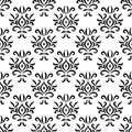Black and white damask ikat ornament geometric floral seamless pattern, vector