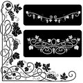 Black and white decorative elements with a vine Royalty Free Stock Image