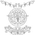 Black and white decorative elements with a vine Stock Image
