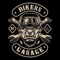 Black and white design of biker patch with the character.