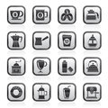 Black and white different types of coffee industry icons Royalty Free Stock Photo