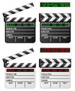 Black white digital movie clapper clapboard or film slate with led display on background in two positions open and closed and in Royalty Free Stock Image