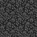 Black and White Doggy Tile Pattern Repeat Background Royalty Free Stock Photo