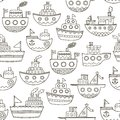 Black and white doodle boats seamless pattern