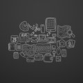 Black and white doodle sketch icons set personal items vector illustration Stock Image