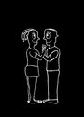Black and White Drawing Couple in Love Concept Royalty Free Stock Photo