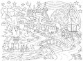 Black and white drawing of fairyland country. Medieval castle in the magic forest for coloring. Worksheet for children and adults.