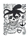 Black-and-white drawing of pirates attributes composition: skull, beard, eye patch, octopus, anchor, pipe, axe and