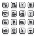 Black an white drinks and beverages icons Royalty Free Stock Photo