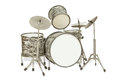 Black-and-white drum kit Stock Image