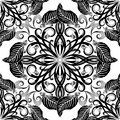 Black and white elegance floral seamless pattern. Vintage orname