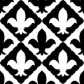 Black and white embroidered royal lily ornament seamless pattern, vector Royalty Free Stock Photo