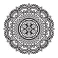 Black and white ethnic mandala on white background. Circular decorative pattern