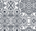 Black and white ethnic seamless pattern with hand drawn elements