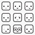 Black and white face expression icons this image is a vector illustration can be scaled to any size without loss of resolution Royalty Free Stock Photo