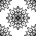 Black and white fantasy seamless pattern with ornamental round doodle flower on white background. Black outline mandala.