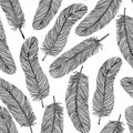 Black-and-white Feather seamless background. Royalty Free Stock Photo