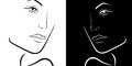 Black and white female laconic heads outline stylized feminine hand drawing vector simple illustration Royalty Free Stock Photos