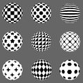 Black and white flat patterned spheres
