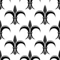 Black and white fleur de lys seamless pattern stylized design in a background suitable for fabric wallpaper or heraldry vector Stock Image