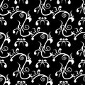 Black and white floral background. Seamless pattern