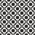 Seamlesss Vector Black and white Abstract geometric clover and star elements in circular pattern.