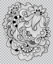 Black and white floral coloring on transparent background. Flower tattoo artwork. Royalty Free Stock Photo