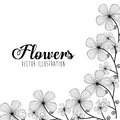 Black and white floral design decorative vector illustration Stock Photo