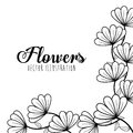 Black and white floral design decorative vector illustration Royalty Free Stock Photo